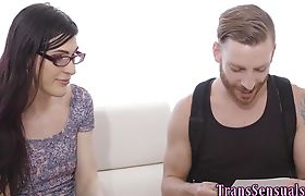 Trans hottie gets rimjob and rides