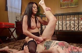 Tranny in stockings anal fucks inked slave