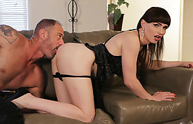 Horny Tgirl stepmom Natalie Mars gets caught fucking stranger