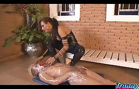 horny brasilian shemale in black shiny leggings