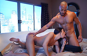 Horny shemale throats and ass fucked by her black husband