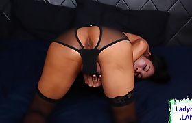 Stunning ladyboy whips it out and jerks off