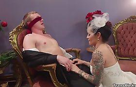 Shemale bride anal fucks lover hard