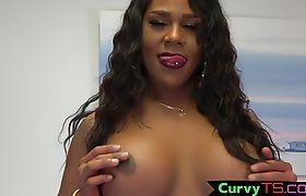 Ebony bbw chubster tranny jerks off