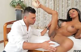 Brazilian tranny gets her cock sucked and ass licked by horny dude