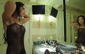 Tranny deep fucked by her stud