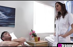 Tranny nurse in sexy lingerie heals a patient with anal