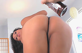 Small tits brunette shemale gets fucked her ass with dildo