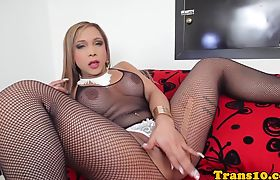 Solo latina tgirl jerking her hard cock