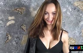Russian tgirl toys her butthole with brush