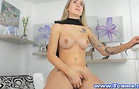 Pretty Blonde Tranny Jerking Her Big Hard Cock