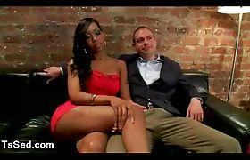 Black tranny fucks guy in bed in bdsm