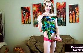 Cute solo hippy tgirl pulling her dick