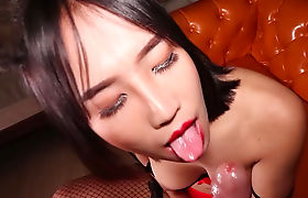 Ladyboy in red and black lingerie gets barebacked hard