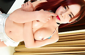Big tits Asian Tgirl Plam jacks her shedick until she cum