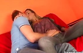 Guy banging a sexy blonde tranny