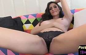 Amazing tgirl fingering her tight pussy