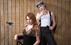 Tgirl Stefani giving an anal fuck with ts Aspen Brooks