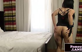 Solo playing femboy models her booty
