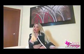 Ana Mancini in black stockings stroking her cock