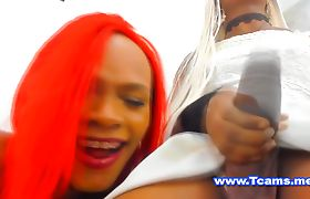 Shemale teasing her girlfriend with her BBC
