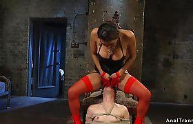 Skinny male slave takes tranny anally