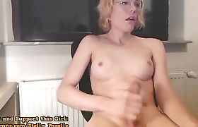 BigCocked Shemale Wildly Jacks On Cam