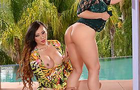 Busty Brunette TGirl Venus Lux bangs Sarahs wet pussy