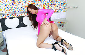 Glamorous transgirl Kalliny Nomura and Christian hard anal bang