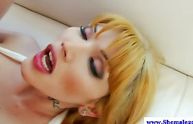 Asian shemale tranny pounded by male