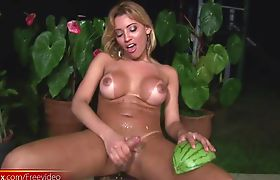 Latina shebabe fucks a watermelon before fingering tight ass