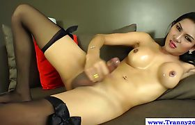 Solo ladyboy amateur masturbating with hard cock