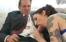 Tattooed TS Brittany St Jordan blows and analized to get movierole
