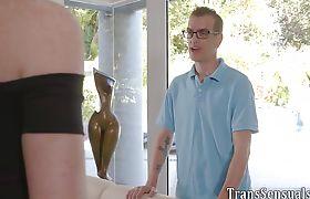 Tgirl gets facial after riding dick