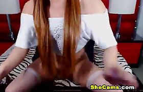Pretty Shemale With Long Hair Jerking Her Cock