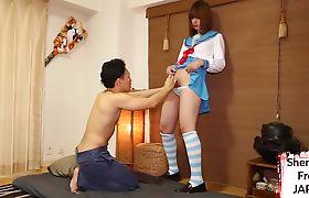 Asian ts schoolgirl fucked on her back
