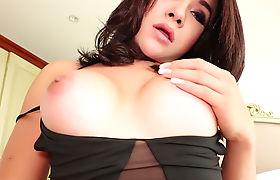 Big juggs ladyboy titty fucks his cock before anal sex