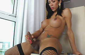 TS Sabrina Suzuki Plays With Her Massive Shecock