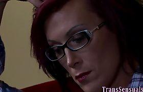 Lesbian tgirl cums tuggin