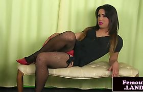Fishnet femboi masturbating in solo session