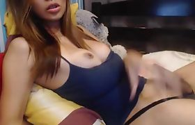 Cute & Busty Tranny Masturbating On Cam