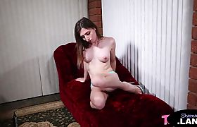 Cock tugging trans pleasuring herself