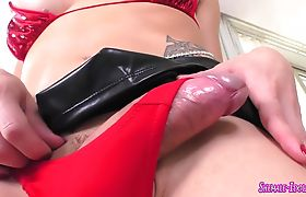 Busty shemale jerking her big hard cock