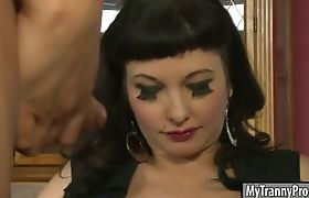 Tight tranny Carmen Moore and hot babe shared on one dude