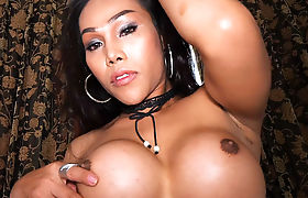 Curvy Asian ladyboy blowjob before anal doggystyling