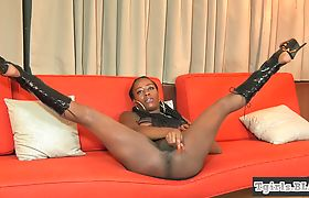 Bigtitted ebony ts jerking off during solo