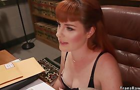 Tranny in stockings bangs redhead attorney