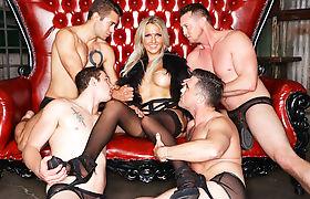 Busty blonde shemale Kayleigh Coxx gangbang