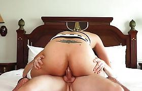 Busty Asian shemale felt a strangers big cock in a ass