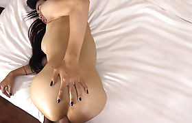 Sexy busty ladyboy shemale swallowed his strong cock